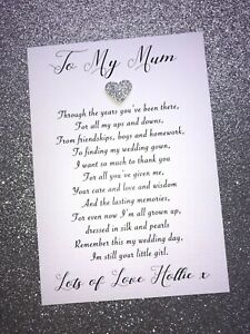 Personalised To My Mother Wedding Day Card Mum Mom Mother of the Bride +Envelope