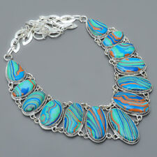 """Rainbow Calsilica 925 Sterling Silver Jewelry Handmade Necklace 17.99"""" N1677-254"""