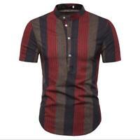 Luxury Men's Shirts Slim Fit Short Sleeve Casual Dress Shirts New T-Shirts Tops