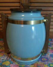 EXCELLENT VINTAGE SKY BLUE/TURQUOISE SIESTAWARE WOOD HANDLE/LID GLASS COOKIE JAR