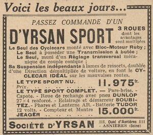Y7502 D' Yrsan Sport 3 Roues - Advertising D'Epoca - 1929 Old Advertising