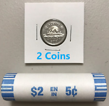 CANADA 2019 New 2x 5 cents ORIGINAL BEAVER Circulation coin (UNC From mint roll)