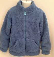 MINI BODEN Blue Sherpa Fleece Zip Through Jacket Sz 7 8 Red White Striped Lining