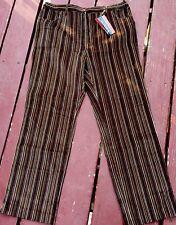 Funky Retro 1970s Vintage Style Disco Striped Corduroy Pants Brown Size S BNWT