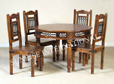Ethnic Wooden Dining set ( 1 Round Table + 4 chairs )