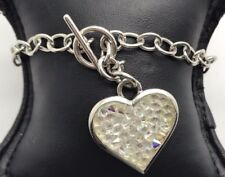 Sterling Silver Spike Crystal Cluster Heart Love Chain Toggle Tennis Bracelet