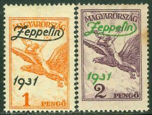 EDW1949SELL : HUNGARY 1931 Scott #C24-25 Zeppelins. Very Fine, Mint OG. Cat $95.