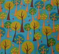 On The Road BTY Studio 8 Quilting Treasures Trees on Teal / Dark Turquoise