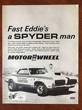 Vintage 1970 Original Print Ad FAST EDDIE Spyder Man Motor Wheel Magnum COUGAR
