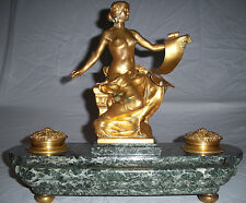 French Bronze Bareau Georges Signed Inkwell