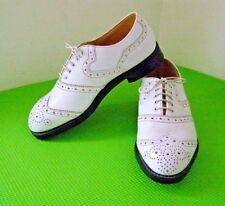 Vintage DANIELS White All Leather Wing Tip Brogues Golf Shoes Made England -UK 7