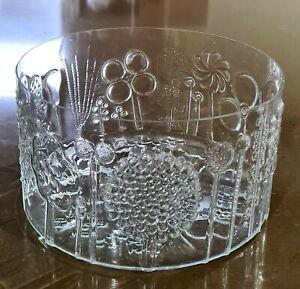 "Nuutajarvi Iittala Arabia Finland Flora Glass Bowl ""25 cm Wide Clear Oiva Toikka"