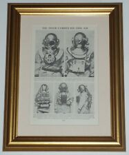 Diving Gear Diver Equipment (also available unframed) Print circa 80 years old