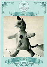 Vintage 1960s daisy cat toy with clothes diagram sewing pattern-free UK postage