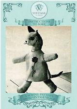 Vintage Años 60 Daisy Juguete Gato Con Ropa diagrama Coser pattern-free UK FRANQUEO