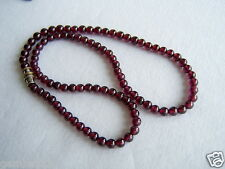 "Genuine Red Garnet Stone 5mm Necklace 16"" Length 5 mm Red Garnet Beads Natural"