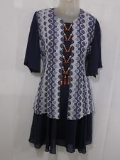 Women's Chiffon Scoop 2PC Bead Blazer Small 4 6 Short Sleeve A-Line Skirt Navy