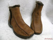 Sofft Brown Leather Ankle Boots 6M Distressed Leather Warm Lining VGC