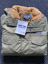 Men's Patagonia Isthmus Green Bear Brown Parka Jacket Sherpa Lined SIZE S BNWT