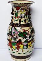Chinesische Keramik Vase China 19. Jh. handbemalt Krieger Drachen Höhe 38,5 cm