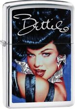 Zippo 2018 Bettie Page-Olivia Queen Of Pinups Brushed Chrome Lighter 29584 *NEW*