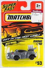 Matchbox MB 53 Rhino Rod Gray With Gold Wheels New On Card 1994