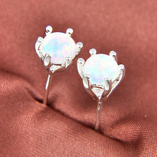Gorgeous Classical Round Rainbow Fire White Opal Gemstone Silver Stud  Earrings