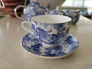 """""""Antique Blue"""" Roses Chintz design Maxwell Williams Ceramic Teacup & saucer"""