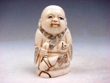 Bone Detailed Hand Carved Japan Netsuke Sculpture Monk Boy Gourd Peach #04071905