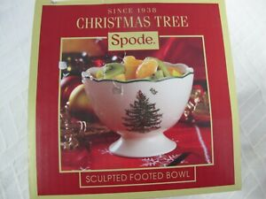 "SPODE CHRISTMAS TREE 4 3/4"" SCULPTED  FOOTED FRUIT BOWL  IN BOX"