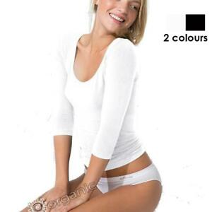 Boody Organic Bamboo Women's Ladies Scoop 3/4 Shirt White, Black, S, M, L