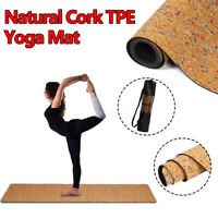 Yoga Mat Natural Cork TPE Exercise Fitness Training Non-slip Pad With Strap Bag