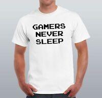 Gamers Never Sleep Men T-shirt Funny Humour Shirt Gift for Him Tee & tops Gamer