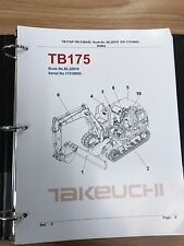 Takeuchi TB175 Parts Manual S/N 17510003 and up Free Priority Shipping