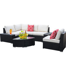 6Pcs Wicker Patio Furniture Sofa Set Sectional Outdoor Couch w/ Table & 2 Pillow