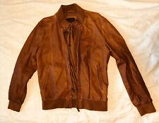 ZARA MAN Men's Leather Bomber Jacket Sz L Faux Cognac Tan Brown Coat