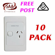 10 x Single 10AMP Power Point GPO - VERTICAL - DOUBLE POLE - White Electrical