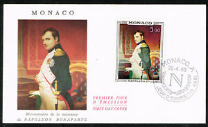 Monaco Art Paul Delaroche Famous Painting Napoleon stamp on cover 1969 FDC