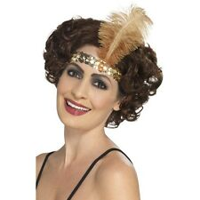 Women's 20's 30's Charleston Lady Fancy Dress Flapper Gold Headband & Feather