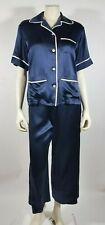 OLIVIA VON HALLE Navy Blue Silk DARIA Wide Leg Pajamas GIFT