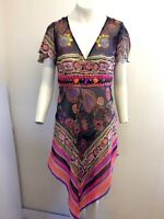 Gorgeous Black Multi Kaftan Style Dress Cover Up by Red Herring, Size 12, Great!