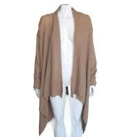 EVOLUTION CYRUS 100% Cashmere Mocha Brown Cascading Cardigan Sweater XL 7875