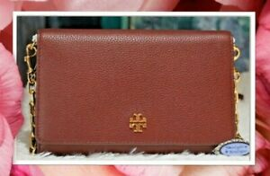 NWT TORY BURCH CARTER Chain WALLET Crossbody Bag In IMPERIAL GARNET Leather Gold