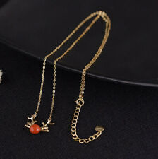 I05 Necklace Hirsch Antlers Sterling Silver 925 Gold Plated Red Agate