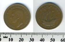 GREAT BRITAIN 1938 -  Half Penny  Bronze Coin - George VI - The Golden Hind - #1