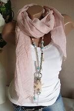 PAÑUELO DE SEDA bufanda rosa blanco Ancla ALGODÓN NOBLE lujo ITALY