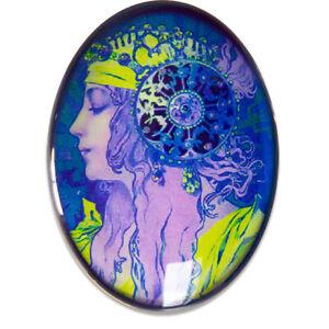 Purple Green Blue Pop Art Nouveau Glass Cameo Cabochon Mucha Deco Vintage Oval