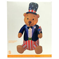 8ft Inflatable Patriotic Bear Lighted Airblown 4th of July Stars Stripes America