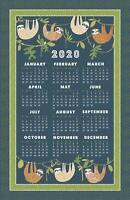 Ulster Weavers Sloth Hanging Around 2020 Calendar Cotton Tea Towel Xmas UK MADE