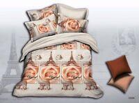 Paris Bedding Set: Duvet Cover Set + Size-Matching White Comforter, Queen/King